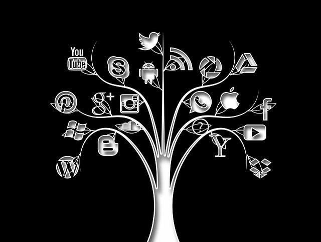 strom se sociálními sítěmi