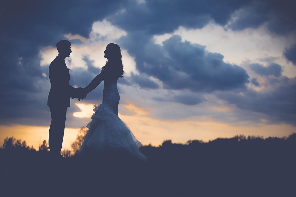manželé západ slunce
